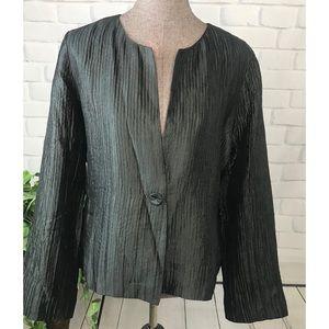 Eileen Fisher Black Silk Jacket Leather Trim